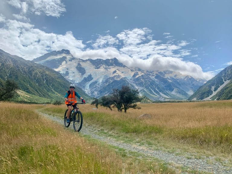 Mt Cook/Aoraki start of the Alps 2 Ocean cycle trail (Mt Sefton behind) – Alps 2 Ocean/Great Southern Circuit